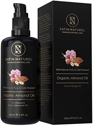 SatinNaturel Bio Mandelöl Vegan 200ml von Höchster Qualität - Kaltgepresst, 100% Rein & Natürlich in Lichtschutz Glas-Flasche - Feuchtigkeitspflege für Weiche Haut, Gesunde Haare & Nägel - Halal - Lippen-balsam Spender