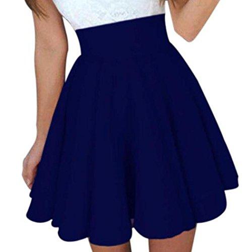 Longra Damen Sommerröcke Skater Röcke High Taille A-Linien Röcke Damen Elegant Faltenröcke Knielang Röcke Mädchen Basic Solid Miniröcke Stretch Jerseyrock (Blue, XL) (Blue Rock Solid)