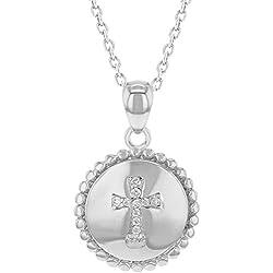 In Season Jewelry - Enfants - Croix Pendentif Collier - Argent 925/1000 - Zircone Cubique Clair - Médaille - 45 cm