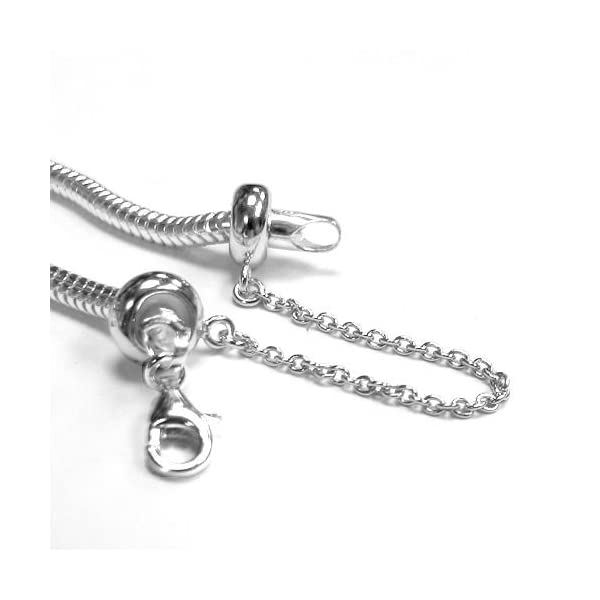 6d017774867a5 Sterling Silver Stopper Safety Chain Bead Charm For European Charm Bracelets