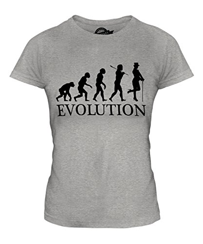 Kostüm Frauen Kabarett - Candymix Kabarett Tänzer Evolution des Menschen Damen T Shirt, Größe X-Small, Farbe Grau Meliert