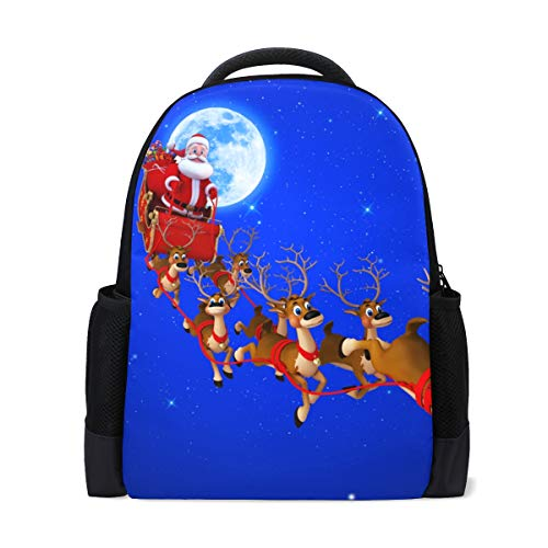 Student Backpacks College School Book Bag Travel Hiking Camping Daypack for Boy for Girl (16.1x11x6'') Holds 15.4-inch Laptop White Old Man Elk Blue
