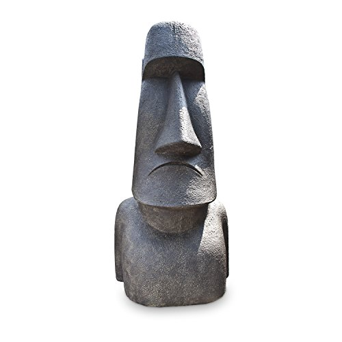 Osterinsel Kopf Große Moai Figur Rapa Nui Garten Dekoration XXL Lavasand Stein 150cm