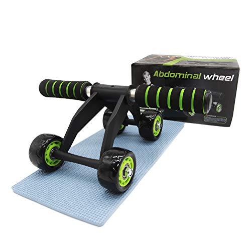 zenlete AB Roller Bauchtrainer mit gepolsterte Kniematte - 4 Rad Bauchmuskeltrainer - AB Wheel Fitness Bauchroller mit rutschfesten Polstergriffen - E-Book mit Übungen fürs Bauchmuskel-Training