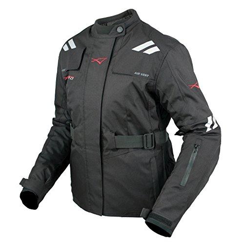 Giacca-Donna-Moto-Impermeabile-Tessuto-Protezioni-CE-Viaggio-Nero-L