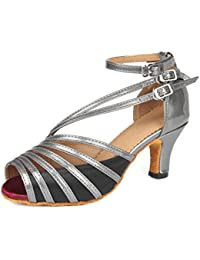 Doris Women's Satin Diamond-Studded Wedding Heels Salsa Tango Modern Ballrom Latin Dance Shoes Sandals Purple UK 5.5