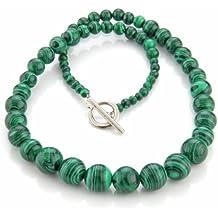 SODIAL (R) de piedra collar de malaquita estilo etnico 4-12mm verde