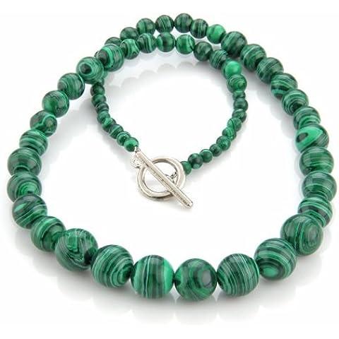 SODIAL(R) Collana in pietra malachite verde 4-12mm stile etnico