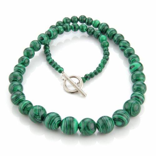 Gleader Collana in pietra malachite verde 4-12mm stile etnico