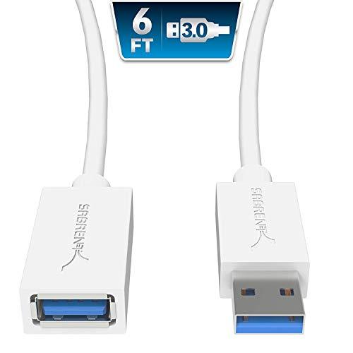 Sabrent USB Kabel 22 AWG USB 3.0 Verlängerungskabel  A-Stecker auf A-Buchse [Weiß] 1.80 Meter (CB-306W) Weiß-usb-usb-kabel