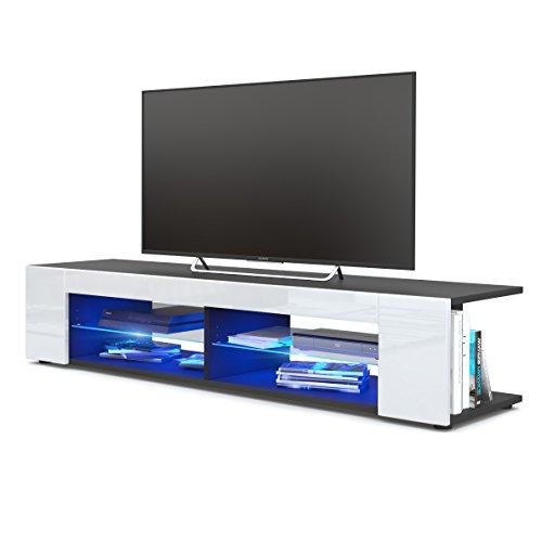 Meuble TV Armoire basse Movie, Corps en Noir mat / Façades en Blanc haute brillance avec l'éclairage LED en Bleu