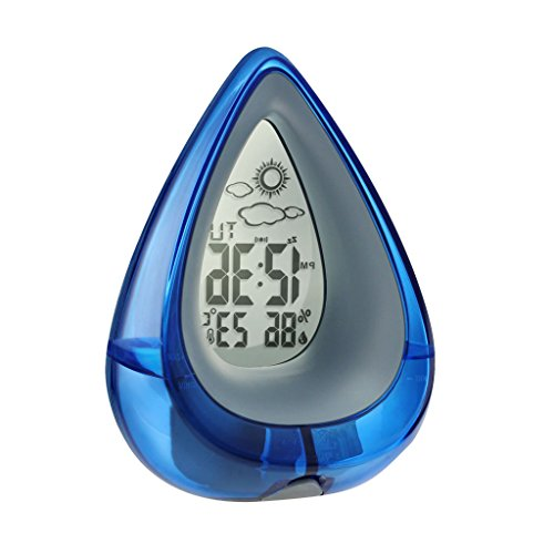 Oder Schreibtisch Tisch Uhren Kleiner (MagiDeal NEU Tropfen -Design Wasserbetrieben Snooze Wecker Tischuhr mit Thermo Hygrometer und Wetter Anzeige, Eco-Friendly Clock - Blau)