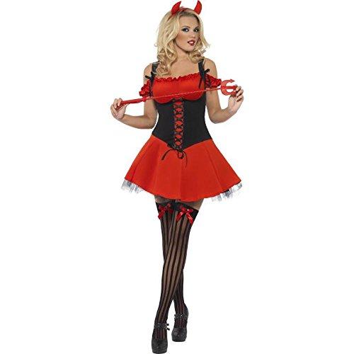 Fever, Damen Sündhafter Teufel Kostüm, Kleid mit Unterrock und Hörnern, Größe: M, (Teufel Das Kostüm Ideen)