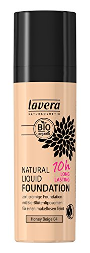 lavera Natural LIiquid Foundation Makeup ∙ Farbe Honey Beige Hautfarbe ∙ 10h Long Lasting ∙ Natural & innovative Make up ✔ vegan ✔ Bio Pflanzenwirkstoffe ✔ Naturkosmetik ✔ Teint Kosmetik 1er Pack (1 x 30 ml) (Foundation Beige Natural)