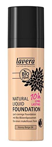 lavera Fond de teint liquide - Natural Liquid Foundation Honey Beige 04 - teint frais pendant 10 heures - vegan - Cosmétiques naturels - Ingrédients végétaux bio - 100% Naturel Maquillage (30 ml)
