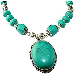Eshopitude Turquoise Gemstone Traditional Tribal Fashion Necklace Chain Pendant