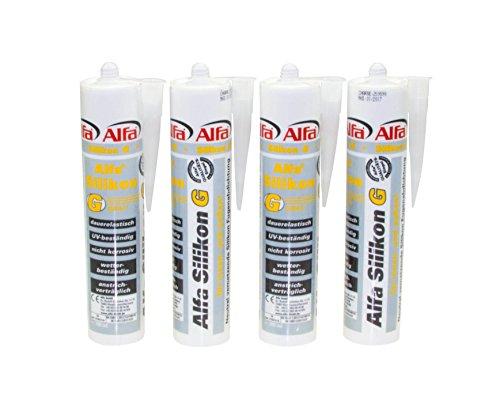 Alfa Bau-Silikon 300 ml, UV- und witterungsbeständiger Qualitäts-Dichtstoff in den Farben grau/weiß/transparent (Weiß) (1, Grau) Silikon Transparent