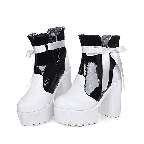 VogueZone009 Damen Schnüren Hoher Absatz Gemischte Farbe Niedrig-Spitze Stiefel mit Schleife Weiß