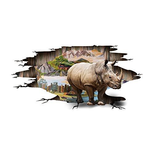 Liwendi Tierwelt 3D Wandaufkleber Rhino Land Malerei Hotel Kino Wohnkultur Wandaufkleber 60 X 90 Cm X 60 Kino