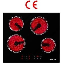 Table de Cuisson, Gasland chef CH60BF Vitrocéramique 60cm 4 Foyers 6000W- plaques (Intégré, verre-céramique, Noir, Toucher, Devant)