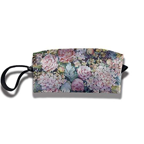 Doinh - composizione floreale colorata in bottiglia di vetro, piccola trousse da viaggio con cerniera, impermeabile, borsa portatile per cosmetici con paillette, adatta per ragazze
