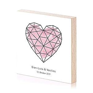 Herz personalisiertes Hochzeitsgeschenk Holzbild mit Wunschnamen und Datum als Geschenk oder Geschenkidee für Sie Ihn Paar zur Hochzeit Jahrestag Verlobung Wand-Bild Wand-Deko Spruch auf Holz