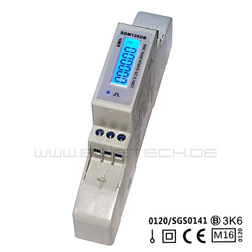 Preisvergleich Produktbild SDM120DB MID - digitaler LCD Wechselstromzähler mit hinterleuchtetem Display für Hutschiene mit S0, geeicht / MID zugelassen