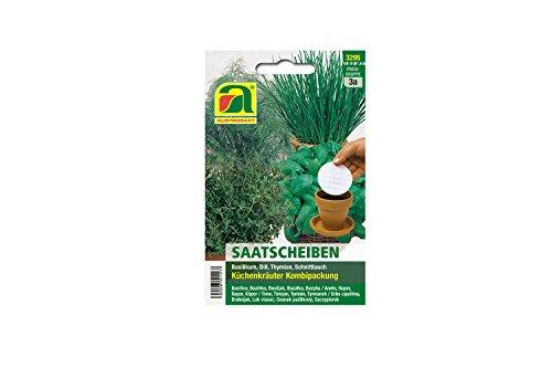 4 varietà | Assortimento di semi di erbe | Pacchetto combinato seme-disco | Set di erbe da cucina per 1 fetta di semi di basilico, aneto, timo e 2 semi di erba cipollina per coltivazione in giardino-letto e balcone