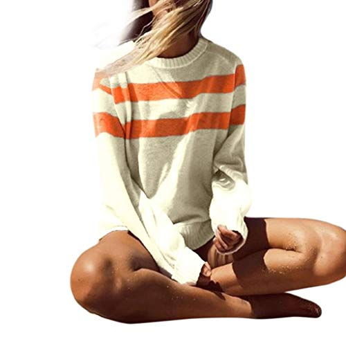Damen Strickpullover Rovinci Herbst Winter O-Ausschnitt Gestreift Strickpulli Strickwaren Lose Asymmetrisch Streifen Sweatshirt Pullover Bluse Oberteile Oversized Tops T-Shirt Knit Langarmshirt