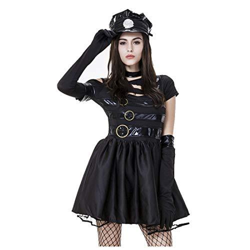 Edward Scissorhand Kostüm - HOOLAZA Frauen Schwarz Rollenspiel Edward Scissorhands Polizistinnen Kostüm Versuchung und Sexy Cosplay Kleid 5 Stücke