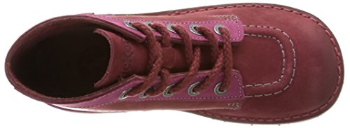 Kickers Kick Col, Chaussures Hautes Classiques fille Rouge (Bordeaux/Fuchsia)