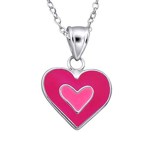 Laimons Kids Kinder-Anhänger mit Kette Herz Pink, Rosa Sterling Silber 925