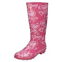 Spot On Girls Heart Design Wellington Boots