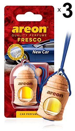 Areon Fresco Ambientador Nuevo Coche Olor New Car Perfume Liquido Botella Mini Original Madera Colgar Colgante Azul Retrovisor Oficina 3D 4ml ( Pack de 3 )