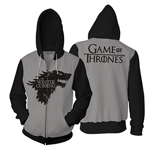 Rabbit sister Männer 3D Print Hoodie Game of Thrones Pullover Langarm Top Paar Jumper Sweatshirt mit Vordertasche Cosplay - Game Of Thrones Inspiriert Kostüm