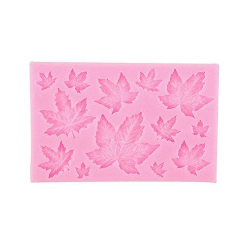 FOReverweihuajz Mini Ahornblätter Silikon Fond Kuchen Blatt Form Zuckerpaste Cupcake/Vereisung/Biscuit/Chocolate Sugarcraft Küche decoreation Tools (Pink + grau weiß) size 1