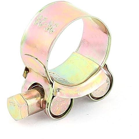 Rango ajustable 26-28mm Agua Aire Manguera clip de la abrazadera del aro del tono de cobre amarillo