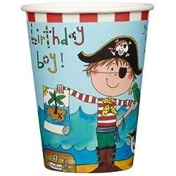 Vasos de papel con diseño de pirata, 8ud.