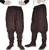 MAYLYNN Mittelalter Hose mit Taschen und Schnürung Wikinger Kelte, braun, Größe:L