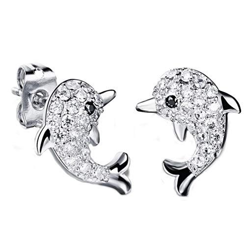 Lumanuby Diamant Ohrringe Für Kinder Mädchen Kreative Kleine Delfine Form Ohrstecker Ohrschmuck Geschenk Für Freundin Liebhaber Geburtstag Valentinstag Geschenke