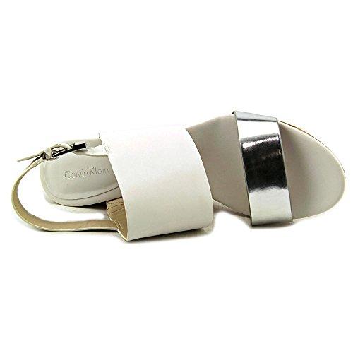 Calvin Klein Bibbi öffnen Zehe-Leder-Keil-Sandelholz Silver/Plat White
