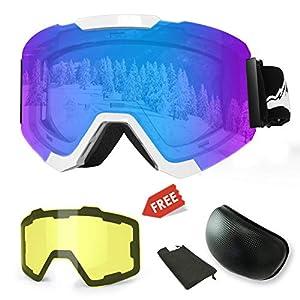 Skibrille, Magnetische Austauschbare Skibrille mit 2 Modelling-Objektiv, Anti-Beschlag UV400 Schutz Winter Schneesport Snowboard-Schutzbrille mit Austauschbaren