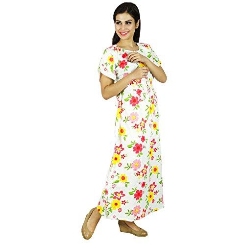 Vêtements Phagun Maxi Vêtement De Nuitlongues En Coton Bohemian Kaftan Jaune Et Blanc