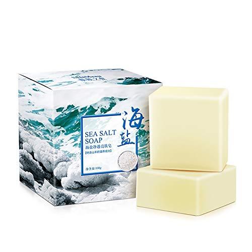 Beito 1 STÜCK Organische Ziegenmilch Seife Handgemachte Meersalz Seife Bar Peeling Und Feuchtigkeitsspendende Haut Tiefenreinigung Natürliche Seife für ALLE Hautbedingungen -