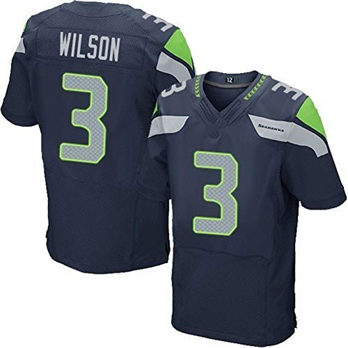 Majestic Athletic NFL Football Seattle Seahawks 3# Wilson Name Number T-Shirt Jersey Navy Trikot,Black,Men-M