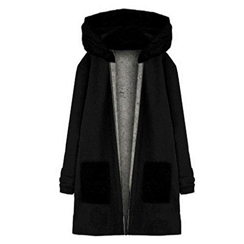 Internet Damen Langarm Kapuzen Mantel Jacke Windbreaker Outwear Top (schwarz, L) Frauen Mäntel Schwarz