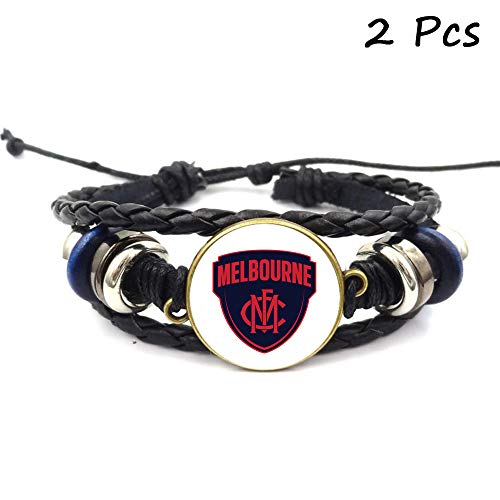 Lorh's store Retro AFL Fußball Club Abzeichen Perlen gewebt Lederarmband Fußball Sport Armband für Fans 2 Pcs (Melbourne Football Club)