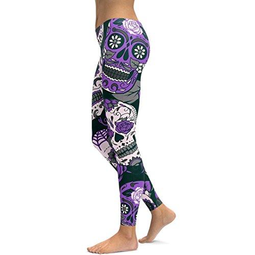 Leggings Hose Yogahose,ABsoar Damen Hosen Mehrfarbig Drucken Leggings Trainingshose Hosen Sporthose Fitness Workout Jogginghose Elastische Dünne Hosen (XL, Violett)