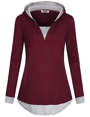 Blusen und Tuniken Damen, Hibelle Female Split v V Ausschnitt Langarm Modische Classy Tunika Pullover 2 in 1 Pullover Jumper Hoody Sweatshirt Gym Tops Rot L (Sweatshirt Block Hoody)