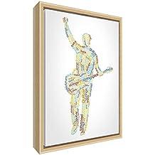 Feel Good Art elegante y moderno, sólido Fronted y Natural enmarcado pared lienzo en Quirky cuadro macho guitarrista diseño 95x 64x 3cm (XL), madera, multicolor, 64x 44x 3cm